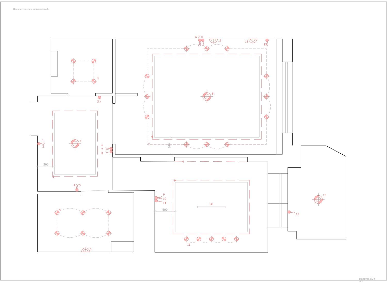 План потолков и включателей